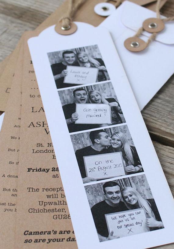 Fotostreifen Hochzeitskarten als coole Idee für individuelle Einladungen zur Hochzeit