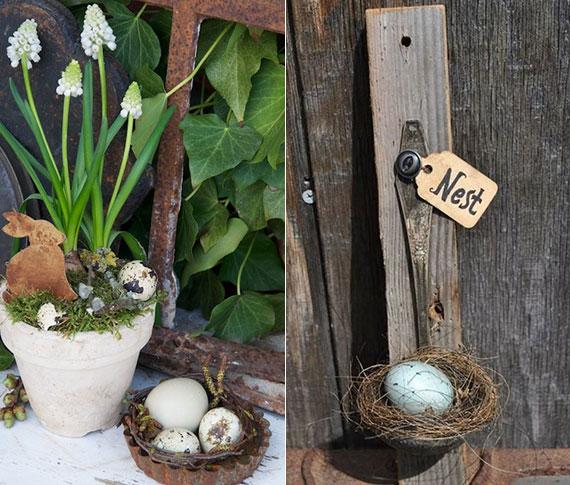 osterliche gartendeko ideen mit einem DIY Osternest
