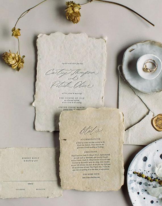 elegante Hochzeitskarten mit RIsskanten selber basteln