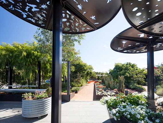 die sehenswerten Gärten im australischen Arboretum in Canberra als beliebtes Reiseziel vieler Touristen und Naturliebhaber