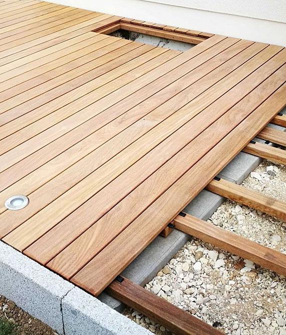 für eine ausreichende Stabilität benötigt jede Holzterrasse einen Unterbau aus Holz