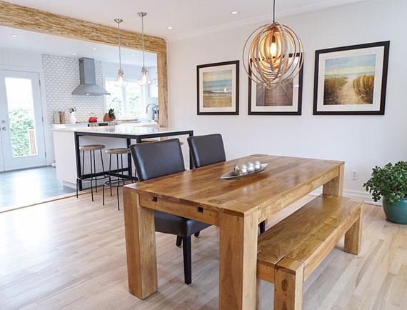dank verschiedener Kombinationsmöglichkeiten von Tischplatte und Gestell kann ein Esstisch aus Holz Ihren persönlichen Wohnstil widerspiegeln