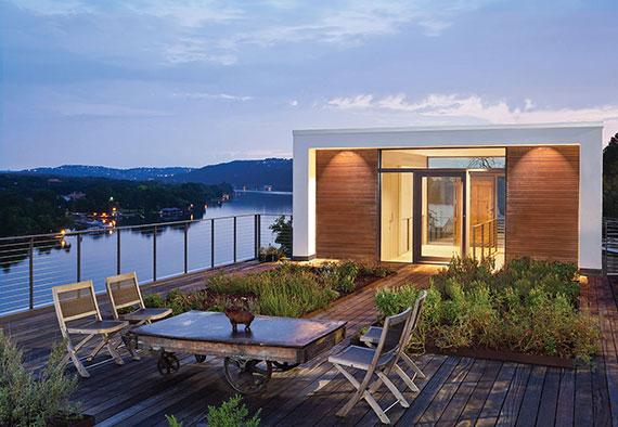 mit geeigneter Bepflanzung eine Dachterrasse oder ein Flachdach in private gartenoase mit sitzecke transformieren
