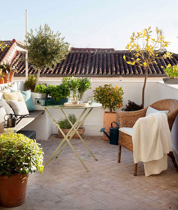 coole gestaltungsidee für dachterrasse und flachdach mit pflastern