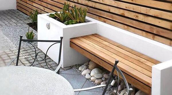 Gartenbank mit Pflanzkübeln – kleines DIY Projekt mit großer Auswirkung