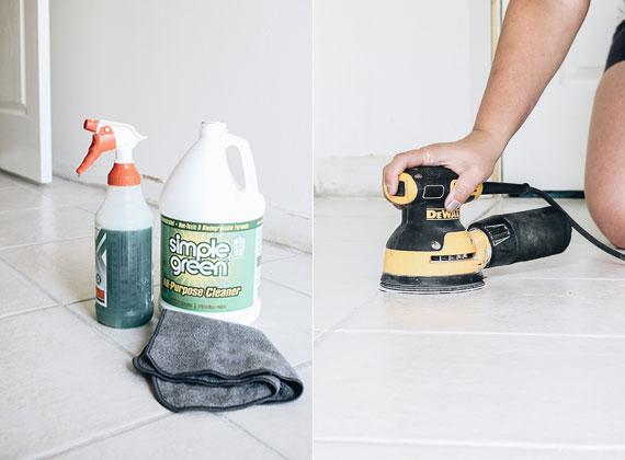bodenfliesen gründlich reinigen, grundieren und in gewünschter farbe bemalen