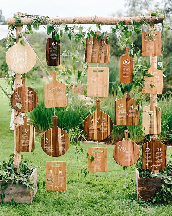 Sitzplan  für eine rustikale Hochzeit einfach und kreativ erstellen mittels holzschneidebretter