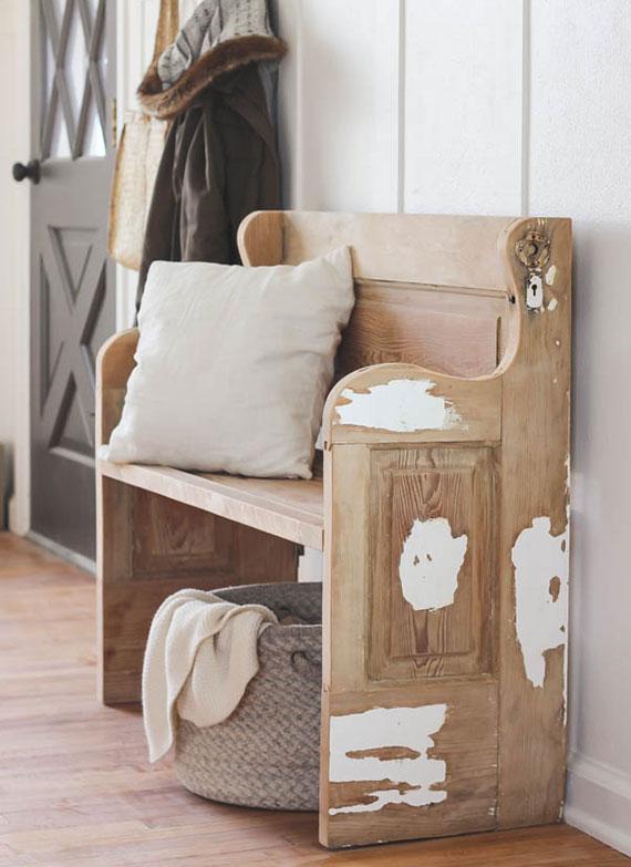 mit einer diy Sitzbank aus Holz wird jeden Flur zum wohnlichen Eingangsbereich