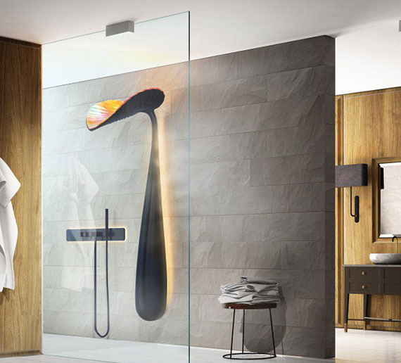 stylische badeinrichtung mit wassersparendem duschsystem und einem besonderen duschpaneel in blattform