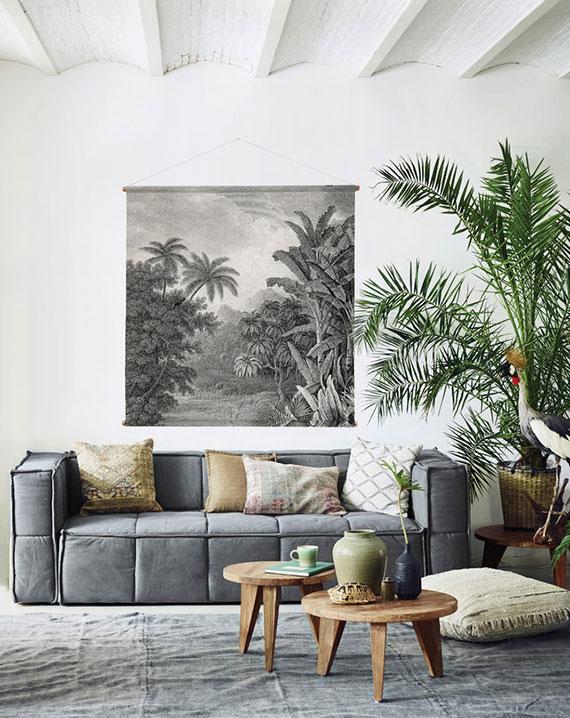 stylische Einrichtungsidee für Wohnzimmer im Urban Jungle Wohnstil mit passendem Wandbehang