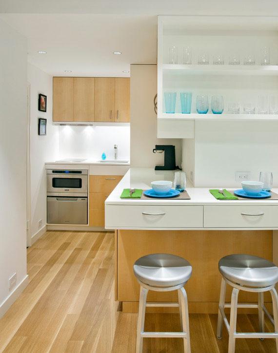 die Planung einer Küche auf engstem Raum erfordert einige ungewöhnliche Lösungen und raffinierte Ideen